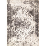 """Orian Rugs - My Texas House by Orian The State House Natural Rug, Off White, 7'10""""x10'10"""" - Regal and slightly distressed to lend an heirloom feel, The State House area rug puts the finishing touch on your home. Featuring a central medallion and intricate detailing, this 100% Orilon centerpiece offers both softness and strength. Fearlessly add this non-staining, anti-fading floor covering to your home as it was designed to support fun friends and happy family living."""