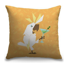 """Cockatoo Cocktail Hour"" Outdoor Pillow 18""x18"""