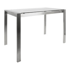 Fuji Contemporary Counter Table Stainless Steel Glass