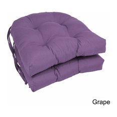 "16"" Solid Twill U-Shaped Tufted Chair Cushions, Set of 2, Purple"