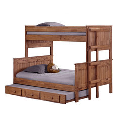 Twin Over Full Stackable Bunk Bed With Trundle Mahogany Stain, 312009-450-T