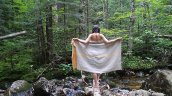 goodlinens 100% linen towels on a New Hampshire camping trip.