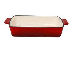 Sunnydaze Red Enameled Cast Iron Deep Baking Dish Roaster/Lasagna Pan