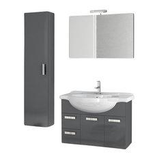 "32"" Glossy Anthracite Bathroom Vanity Set"