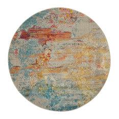 Nourison Celestial Contemporary Area Rug, Sealife, 4' Round