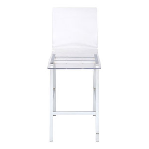 ACME Nadie Bar Stool in Acrylic and Chrome (Set of 2)