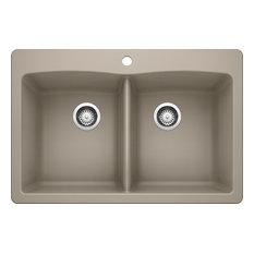 "Blanco 441285 22""x33"" Granite Double Dual-Mount Kitchen Sink, Truffle"