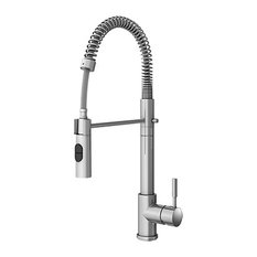 Wave Contemporary Chrome Faucet With Swivel Spout Handle, Solid Brass