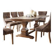 Homelegance Marie Louise Double Pedestal Dining Table, Rustic Brown