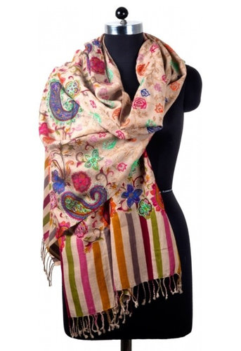 Hand Embroidered Shawl with Cream Color - Lifestyle And Leisure