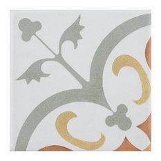 """SomerTile Revival Mini 4"""" x 4"""" Ceramic Floor and Wall Tile, White"""