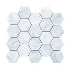 "12.25""x10.75"" Carrara White Hexagon Mosaic Tile Honed, Chip Size 3"""