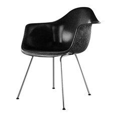 Eames Molded Fiberglass Armchair, 4-Leg Base by Herman Miller, Black, Trivalent