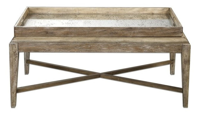 Cottage Weathered Wood Coffee Table Beach Style Coffee