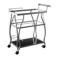 Castillo Contemporary Style 3 Tier Shelf Serving Cart In Champagne