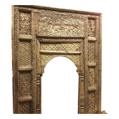 Mogulinterior - Consigned Antique Welcome Gate Jaipur Arch Carved Wood Frame Teak Vintage Archit - Home Decor