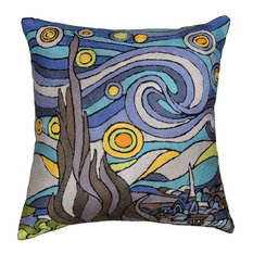 The Starry Night Inspired Van Gogh Throw Pillow Cover Hand Embroidered, 18x18""