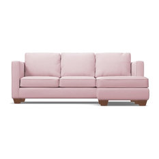 Catalina Reversible Chaise Sleeper Sofa, Blush Velvet, Memory Foam Mattress