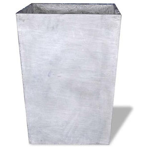 Tall Square Vase, Lead Gray, 20x20x28, Without Drainage Hole