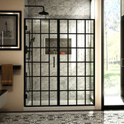"DreamLine Unidoor Toulon 58-58.5"" W x 72"" H Frameless Shower Door, Satin Black"