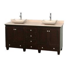 "Wyndham Collection - 72"" Double Bathroom Vanity in Espresso, Ivory Marble Countertop, Sinks - Bathroom Vanities and Sink Consoles"