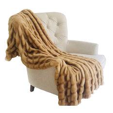 Plutus Beige Tissavel Mink Faux Fur Handmade Luxury Throw