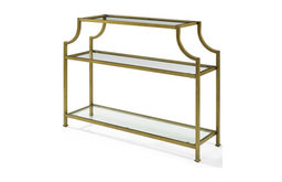 Crosley Furniture Aimee Glass Top Metal Accent Console Table in Antique Gold