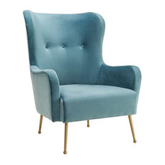 MOD - Uma Velvet Armchair Sea Blue - Armchairs and Accent Chairs  sc 1 st  Houzz : blue velvet wingback chair - Cheerinfomania.Com