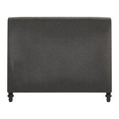Empire Vintage Leather Scroll Headboard Cal King Graphite