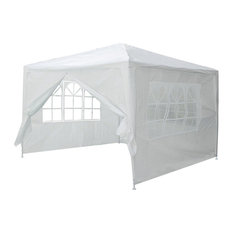 10'x10' Outdoor Party Tent Pavillion With 4 Side Walls, White