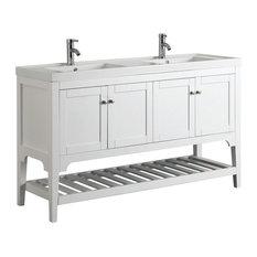 "Aquamoon Rimini 59 3/4"" Double Sink Bathroom Vanity Set, White"