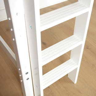White Twin Mid Loft Bed with Customizable Ladder