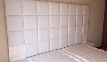 Tête de lit en cuir blanc