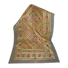 Mogul Inyerior - Decorative Grey Red Sofa Throw Golden Mirror Embroidered India - Tapestries