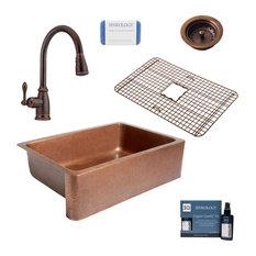 "Adams 33"" Farmhouse Copper Kitchen Sink, Canton Faucet and Strainer Drain"