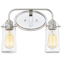 "14"" Modern 2-Light Vanity/Bathroom Light, Bubble Glass + Chrome Finish"