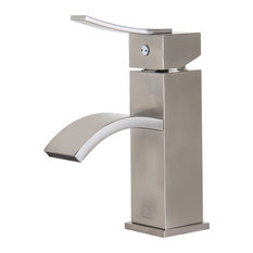 Brushed Nickel Square Body Curved Spout Single Lever Bathroom Faucet