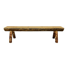 Glacier Country Half Log Bench, Exterior Stain Finish, 6 ft.