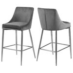 Meridian Furniture - Karina Velvet Stool, Set of 2, Gray, Chrome Base - Yield to your contemporary side with this Karina Grey Velvet Stool. This modern stool is counter height, making it an ideal addition to a home bar or eat-in kitchen counter. The grey velvet upholstery brings a neutral element to your room, so it can easily meld with other furnishings. Plump seat and back cushions ensure that guests sit comfortably, whether they're enjoying a sudsy brew or a stack of pancakes. The polished chrome metal frame is sturdy and stout, adding a durable slant to this lovely stool.