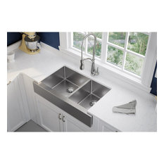 "ECTRUF32179R Crosstown Stainless Steel 35-7/8"" Double Bowl Farmhouse Sink"