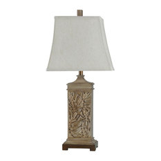 Ariean Table Lamp, Brown Body, Off White Shade