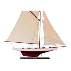 "Wooden Columbia Model Sailboat Decoration, 42"""