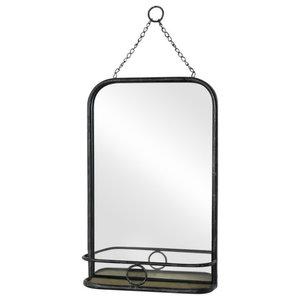 Black Metal Industrial Vanity Wall Mirror with Shelf 32cm x 50cm