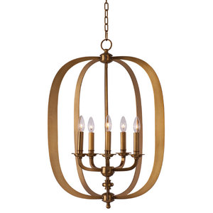 Fairmont 5-Light Pendant, Natural Aged Brass