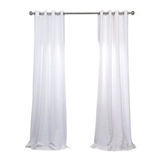 "White Grommet Heavy FauxLinen Curtain Single Panel, 50""x108"""