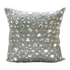 "The HomeCentric - Diamonds Everywhere, 20""x20"" Art Silk Silver Throw Pillow Covers - Decorative Pillows"