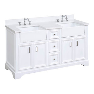 "Zelda Bathroom Vanity, Base: White, 60"", Top: Quartz, Double Sink"