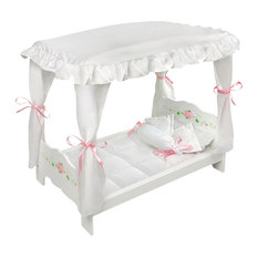 Badger Basket Co. - Badger Basket Co. White Rose Doll Canopy Bed - Kids Toys And Games