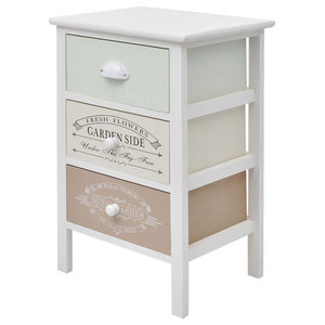 vidaXL Shabby Chic French Storage Cabinet, 3-Drawer