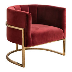 Erika Channel Tufting Velvet Accent Chair, Red